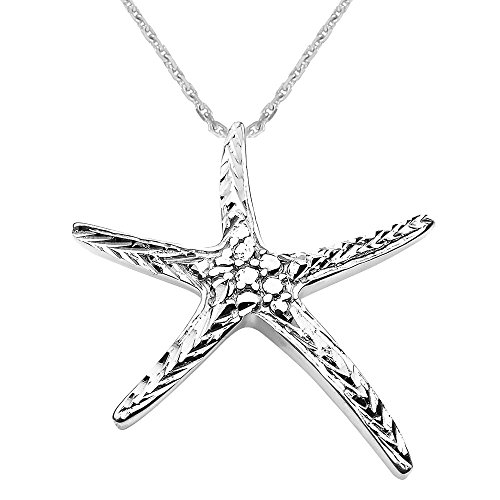 Solid 14k White Gold Cute Starfish Necklace, (White Gold Starfish Necklace)