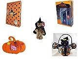 Halloween Fun Gift Bundle [5 piece] - Halloween Cat Pumpkin Push In 5 Piece Head Arms Legs - 35 Count Skeleton Icicle-Style Light Set - Ty Attic Treasures ''Esmerelda'' Witch Bear Plush - Halloween Fe