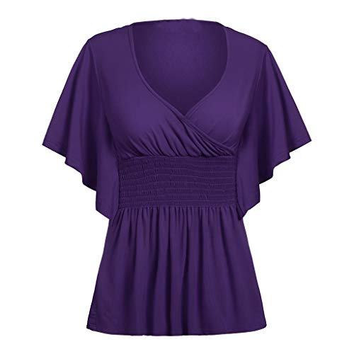 ClaystyleWomen's Casual Loose Hollowed Out Shoulder Three Quarter Sleeve Shirts Purple