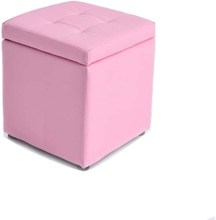Visual Taste Tufted Leather Square flip top Storage Ottoman Cube Foot Rest for Living Room Bedroom The Door ???-Pink 303035CM