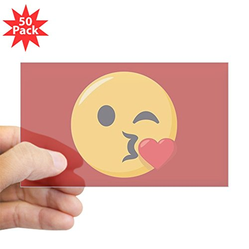CafePress - Kissing Emoji - Sticker (Rectangle 50 pk) by CafePress