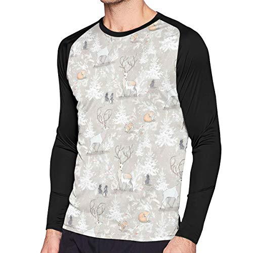 (Mens T-Shirt, Fit Vintage Woodland Christmas Pattern Long-Sleeved Tee Top for Men)
