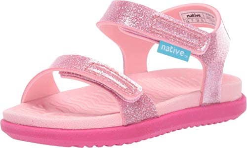 Native Kids Shoes Girl's Charley Glitter (Toddler/Little Kid) Princess Pink Glitter/Princess Pink/Hollywood Pink 8 Toddler