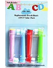 Cabezal de cepillo de dientes de repuesto profesional EB-10A para niños, diseñado para cabezales de cepillo de repuesto eléctricos Oral B, cerdas suaves, 4 unidades/cartón.