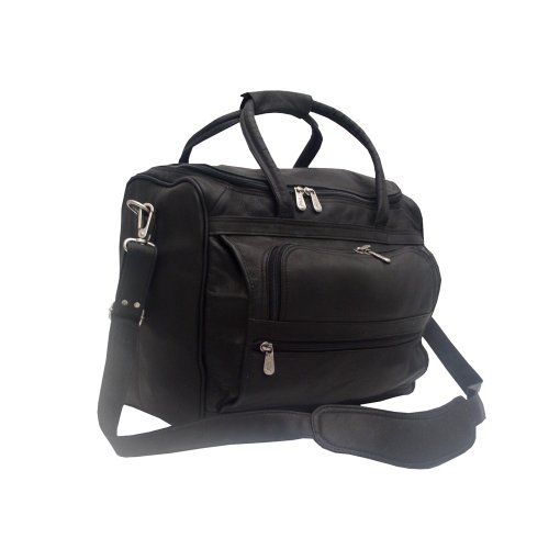 Piel Leather Small Computer Carry-All Bag, Black, One Size