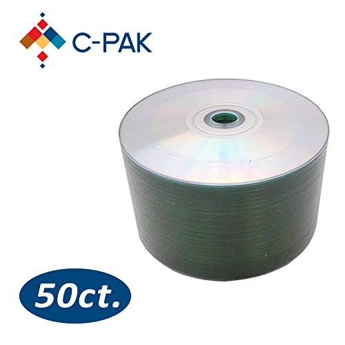 C-Pak 50 Pack CD-R Recordable Discs, 700MB 80 Minute 52x Write Speed Blank CDs for Music Image Data Storage Disks