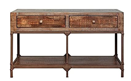 Amazoncom Industrial Style Rustic Solid Wood And Metal Sofa Table