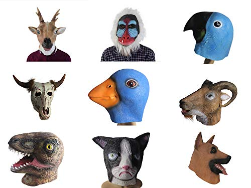 Animal Head Mask Halloween Party Costume Cosplay Deluxe Latex Masks Funny Toys (Goat)]()