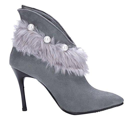 AIYOUMEI Damen Spitz Zehen Stielfeletten mit Perlen und Fell Stiletto High Heels Herbst Winter Stiefel Schuhe Grau