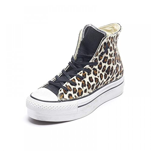CONVERSE - Scarpe alte CONVERSE ALL STAR PLATFORM CANVAS LTD in tessuto e canvas leopardato 5C648 - 5C648 - 40, Leopardata