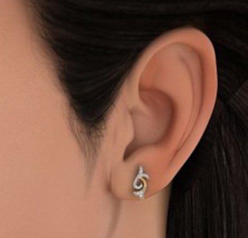Or jaune 18K 0.16CT TW White-diamond (IJ | SI) Boucles d'oreille à tige