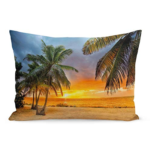 (Semtomn Throw Pillow Covers Blue Key Sunset at The Beach While Storm is Coming Orange West Florida Pillow Case Cushion Cover Lumbar Pillowcase Decoration for Couch Sofa Bedding Car 20 x 26 inchs )