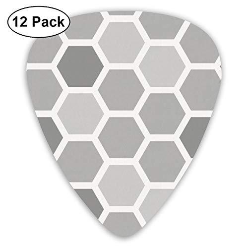 HAIDILUN Gray Honeycomb Guitar Picks Plectrums Acoustic Guitar Ukulele Picks 0.46 Mm, 0.73mm, 0.96 Mm,12 - Grip Pick Pick Honey Guitar