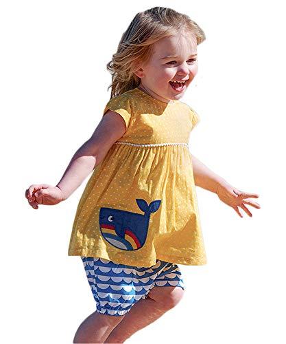 Kids Girl Beach Clothes Short Set Cotton Short Sleeve Dress Dot Fish Applique Dress Outfits 2PC Yellow