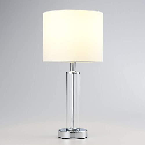 Mondaufie 18 H Modern Tiny Glass Table Lamp with White Fabric Shade for Living Room Bedroom Office, Chrome Finish