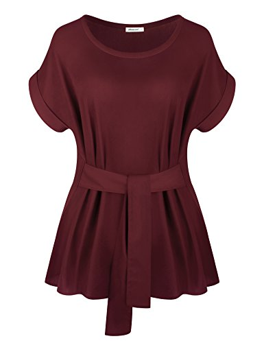 Elemevol Casual Shirt Women, Ladies Elegant Office Wear Casual Boat Neck Ladies Chiffon Cuffed Sleeve Blouse Tops Slim Fitted Chiffon Blouse Tops Wine XL by Elemevol