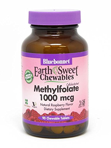 Bluebonnet Earth Sweet Cellular Active Methylfolate 1000 mcg Chewable Tablets, 90 (400 Mcg 90 Tablets)