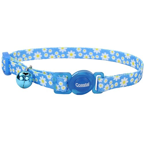 (Coastal Pet Fashion Cat Collar Adjustable 8-Inch to 12-Inch, Breakaway Buckle, with Bell, Daisy Blue.)