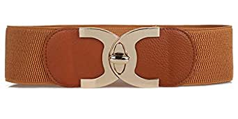 Women's Elastic Stretch Wide Waist Belts with Screw-buckle for Dresses - brown - Large