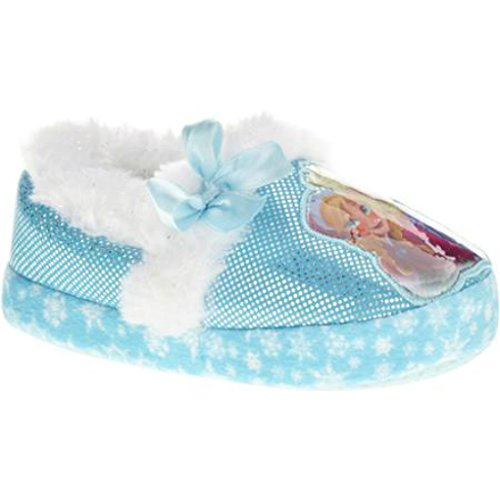 Disney Frozen Toddler and Girls Cushioned Sparkle Slippers with Fur Trim (13/1 - XXL, Blue/White)