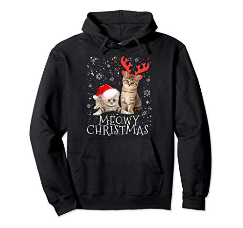 Meowy Christmas Hoodie Kitten Cat Kitty Xmas Cute Gift ()
