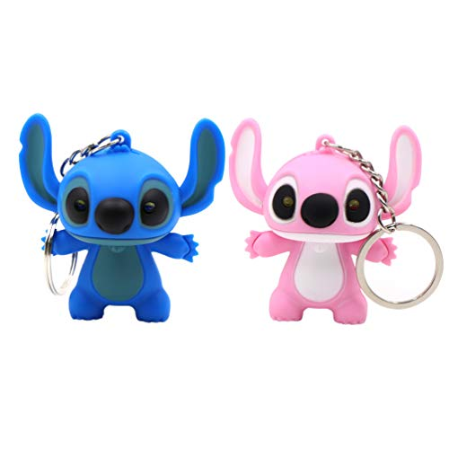 Ireav 2pcs Stitch Cartoon Modeling Keychain LED Flashlight Key Ring Handbag Bag Purse Pendant Key Holder Couples Keychains Set Animal Key Chain Lights