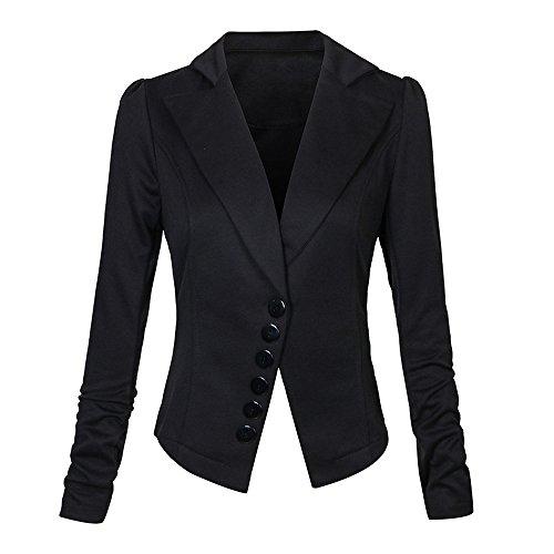 Sfit Femme Manteau Tops Manches Longues Blazer Veste Slim Jacket Casual pour Printemps Automne Noir