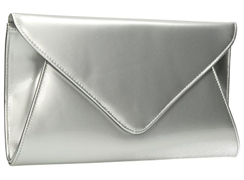 Patent Bridal Juliet Evening Leather Clutch Silver Prom Party Flapover Womens Bag Envelope EqHRWHw8