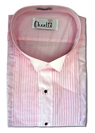 Chaplin Pink Tuxedo Shirt with Wing Tip Collar, One Button Cuff ...