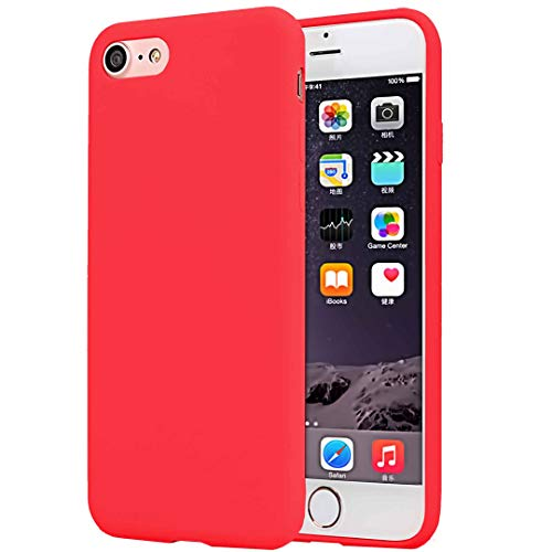 CaseHQ Compatible with Slim Fit iPhone 6S/6 Plus Case, Ultra-Thin Slim Fit Silicone Gel Rubber Case,Shock Absorption and Anti Scratch Finish TPU Anti-Scratch Cover -Red