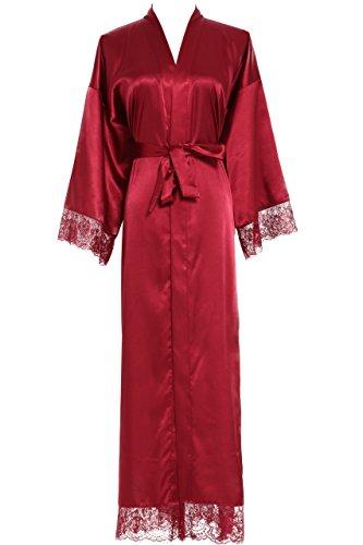 (Owiter Women's Kimono Robe Long Lace Trim Bridesmaid Robes Bridal Robe (Wine red) )