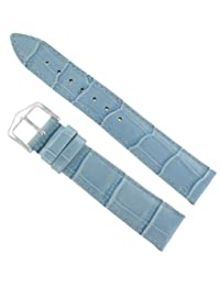 20mm Hirsch Duke Alligator Grain Light Blue Genuine Leather Padded Watch Band Strap