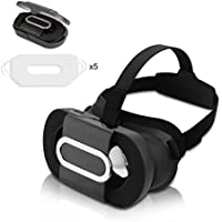 3D VR Headset Foldable, Topoint 3D VR Glasses Lightweight Portable Virtual Reality Goggles for iPhone 7/7Plus/6s/6s Plus,Smartphones in 4.7-6.0 inch(with 5 free disposable eye mask)