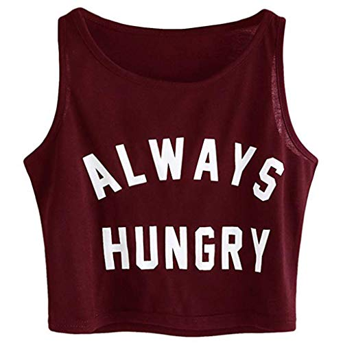 XINHUXIN Women Cropped Soild Letter Print Tank Top Loose Sleeveless O-Neck Vest Top Strap Camis Blouse Wine -