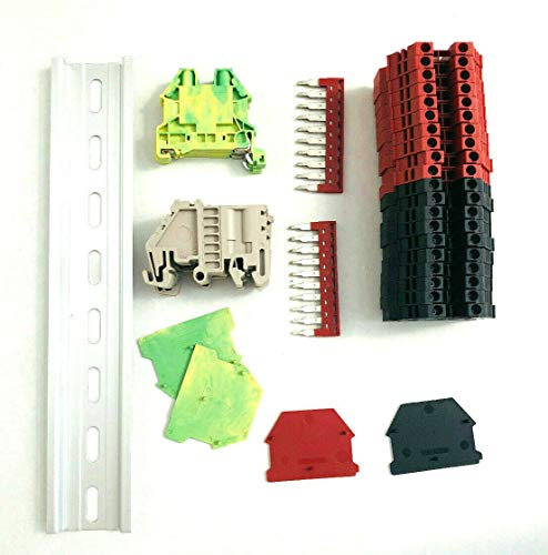 Dinkle UL Listed DIN Rail Terminal Block Kit #1 Red/Black Dinkle 20 DK2.5N 12 AWG Gauge 20A 600V Ground DK4N-PE Jumper DSS2.5N-10P End Covers End Brackets