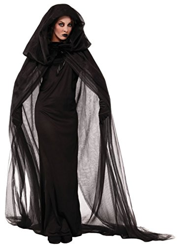 LEDSSIWE Halloween Women's Black Witch Cosplay Devil Vampire Evil with Hooded Cloak Cape Outfit Costume Dress -