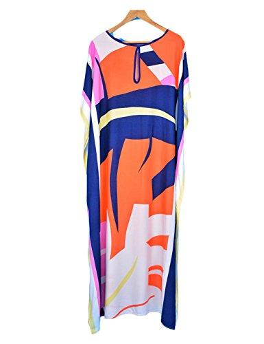 38be6cf0e93fb Bsubseach Women Loose Multicolor Colorblock Beach Dress Half Sleeve Long  Kaftan Swimsuit Cover Up