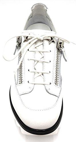 Giuseppe Zanotti Blitz Star Sneaker In Pelle Di Vitello Con Zip Laterale Bianca (bianco)