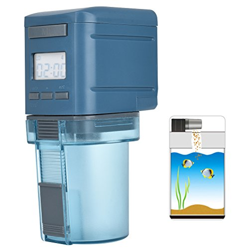 Petacc Programmable Automatic Fish Feeder Multi-functional Fish Food Dispenser Auto Fish Food Timer with LCD Display and Feeding Time Setting, Suitable for Aquarium, Fish Tank and Turtle Tank, Blue by Petacc