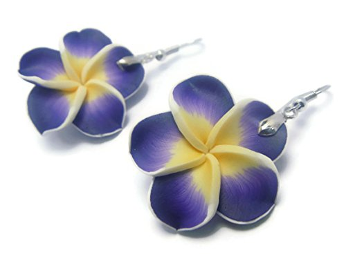 (CHADADA Jewelry Hawaiian Fimo Plumeria Flower Dangle Earrings Handmade for Women (Purple) EH4)