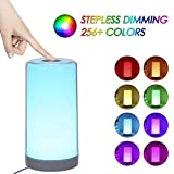 Touch Lamp, Tomshine Bedside Lamp with Dimmable Warm White, White, 256 RGB Colour Changing and Memory Function Night Light for Bedroom