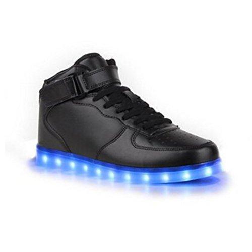 [Present:kleines Handtuch]JUNGLEST JUNGLEST(TM) 7 Farbe USB Aufladen LED Leuchtend Sport Schuhe Sportschuhe Sneaker Turnschuhe für Unise Schwarz High-Top
