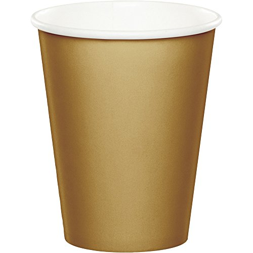 Glittering Gold Paper - 48 Gold Premium 9oz Hot/Cold Cups Bulk Party Supply Wedding Shower Birthday Anniversary