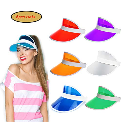 Ultrafun Unisex Candy Color Sun Visors Hats Plastic Clear UV Protection Cap for Sports Outdoor Activities (6pcs)]()