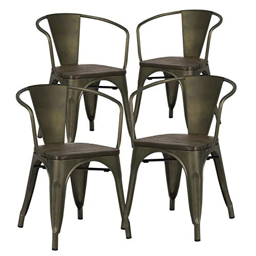 (Poly and Bark Trattoria Arm Chair with Elm Wood Seat in Bronze (Set of 4))