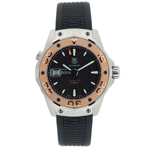 (TAG Heuer Men's WAJ2150.FT6015 Aquaracer Calibre 5 Automatic 500M Gold Bezel Watch)