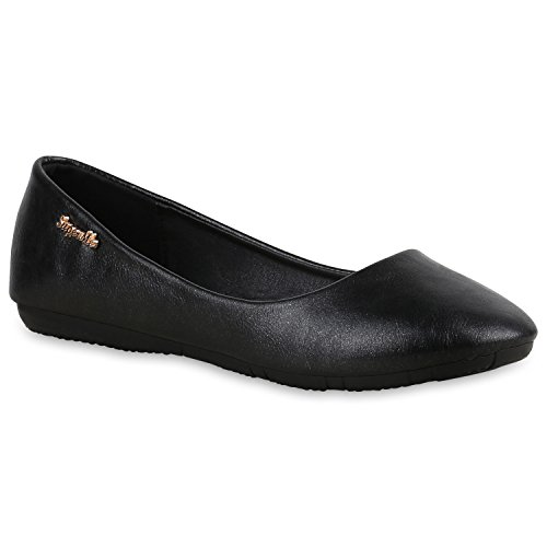 Klassische Damen Ballerinas Leder-Optik Flats Schuhe Übergrößen Flache Slipper Spitze Prints Strass Flandell Schwarz Metallic