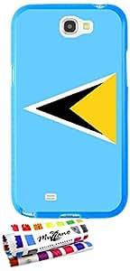 Carcasa Flexible Ultra-Slim SAMSUNG GALAXY NOTE 2 / N7100 de exclusivo motivo [Santa Lucia Bandera] [Azul] de MUZZANO  + ESTILETE y PAÑO MUZZANO REGALADOS - La Protección Antigolpes ULTIMA, ELEGANTE Y DURADERA para su SAMSUNG GALAXY NOTE 2 / N7100