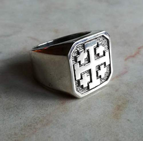 Jerusalem Cross Ring - Crusader Ring, Hand Engraved | knights templar rings, knights templars ring, custom knights templar ring | Sterling Silver 925, Yellow, White, Rose Gold | Handmade | All sizes