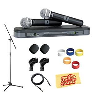 shure pg288 pg58 dual vocal handheld wireless microphone system pack with mic stand. Black Bedroom Furniture Sets. Home Design Ideas